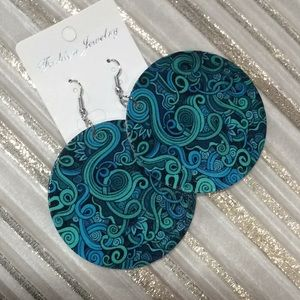 Teal/Multi color flat round earrings